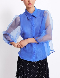 Fashion Royal Blue Puff Sleeve Organza Shirt