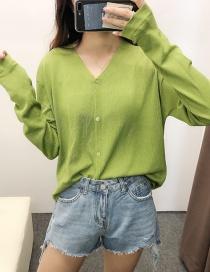 Fashion Green V-neck Sun Protection Clothing