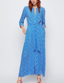 Fashion Blue Printed Dress