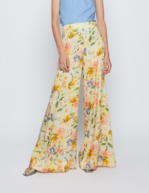 Fashion Color Flower Print Wide Leg Pants