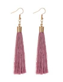 Fashion Leather Pink Alloy Tassel Earrings