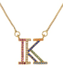 Fashion Golden K Copper Inlaid Zircon Letter Necklace