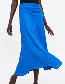 Fashion Blue Cotton And Linen Skirt