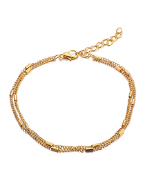 Fashion Gold Beaded Alloy Chain Multi-layered Anklet
