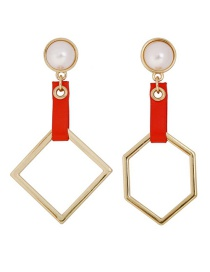 Fashion Gold Asymmetrical Geometric Leather Colorblock Pearl Earrings