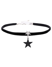 Fashion Black Five-pointed Star Velvet Star Diamond Necklace