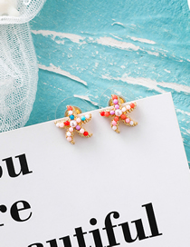 Fashion Red Color (small Starfish) S925 Silver Pin Pearl Round Earrings