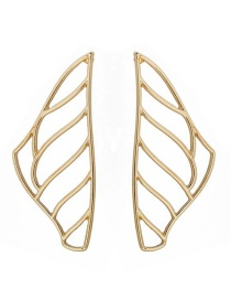Fashion Gold Pictographic Wing Wavy Geometric Hollow Earrings
