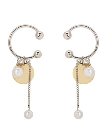 Fashion Silver Semicircular Pearl Earrings