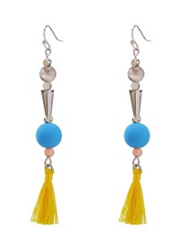 Fashion Color Line Ear Beaded Tassel Earrings