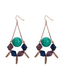 Fashion Color Geometric Beaded Resin Earrings