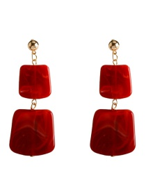 Fashion Red Geometric Acrylic Earrings
