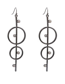 Fashion Black Gemstone Inlaid Double-ring Earrings