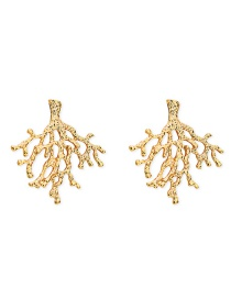 Fashion Gold Scalloped Metal Leaf Hollowed Out Irregular Alloy Earrings