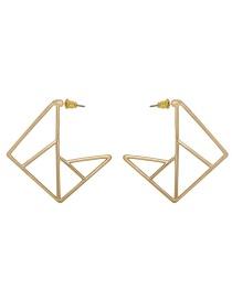 Fashion Gold Geometric Square Metal Strip Hollow Earrings