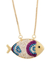 Fashion Rose Red Colorful Diamond Fish Necklace