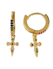 Fashion Golden Cross Cross-studded Earrings