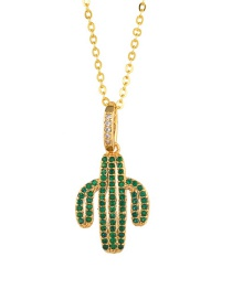 Fashion Green Cactus Cactus Inlaid Zircon Necklace
