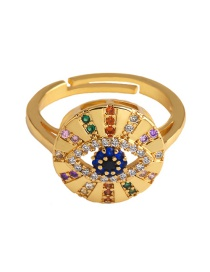 Fashion Gold Devil's Eye With Zircon Ring