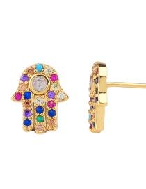 Fashion Golden Palm Zircon Full Diamond Life Tree Earrings