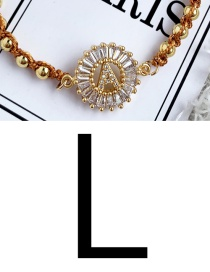 Fashion Gold L Copper Inlaid Zircon Beads Letter Tassel Bracelet