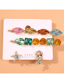 Fashion Golden Mermaid Stars Alloy Conch Imitation Pearl Hairpin Stud Set