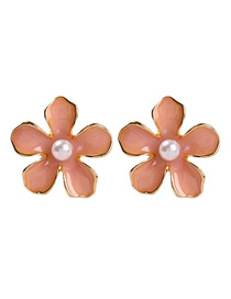 Fashion Pink Alloy Pearl Flower Earrings