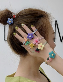 Fashion Purple Flower + Carrot Soft Pottery Flower Hair Ring