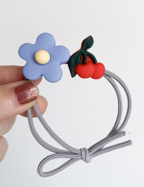 Fashion Blue Flower + Cherry Soft Pottery Flower Hair Ring