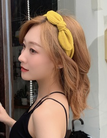Fashion Yellow Wide-brimmed Bow Headband