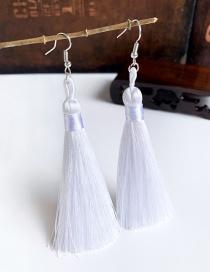 Fashion White Alloy Tassel Earrings