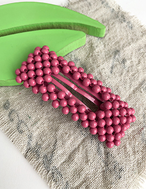 Fashion Rose Red Alloy Resin Beads Square Hair Clip