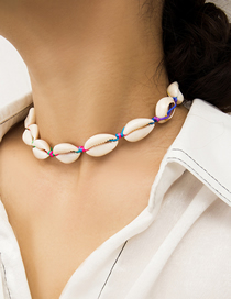 Fashion Color Adjustable Shell Jade Thread Woven Necklace