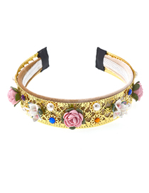 Fashion Gold Ceramic Flower Crystal Gemstone Pearl Flower Headband