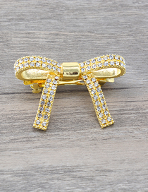 Fashion Gold Flash Diamond Bow Hair Clip