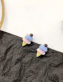 Fashion Ice Cream Color 925 Silver Pin Cartoon Earrings