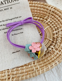 Fashion Purple Contrast Color Flower Hair Ring