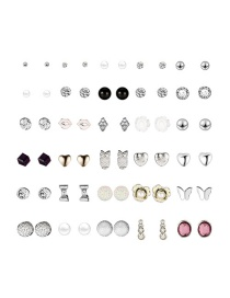 Fashion Color Red Lip Studded Alloy Stud Earring Set (30 Pairs)