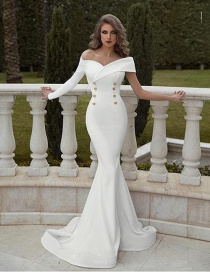 Fashion White Double-breasted One-shoulder One-shoulder Dress