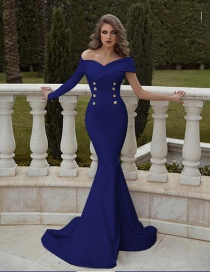 Fashion Blue Double-breasted One-shoulder One-shoulder Dress