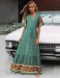 Fashion Green Small Floral Pull-out Cloth V-neck Dress