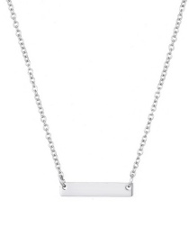 Fashion Steel Color Geometric Rectangular Stainless Steel Necklace