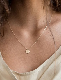 Fashion Gold Stainless Steel Geometric Round Gold-plated Necklace