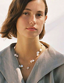 Gold Alloy Natural Square Pearl Necklace