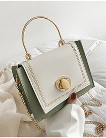 White With Green Single Shoulder Color Chain Bag