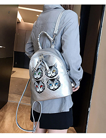 Silver Cat Print Backpack