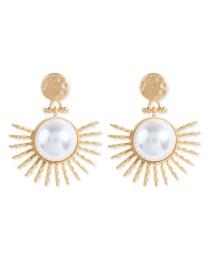 Gold Big Pearl Earrings