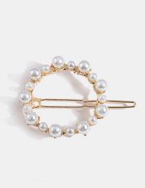 Gold Geometric Circle Alloy Pearl Hairpin