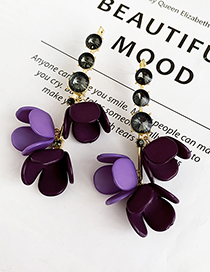Purple Alloy Diamond Resin Flower Earrings
