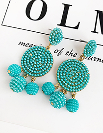 Blue Alloy Imitation Pearl Round Earrings